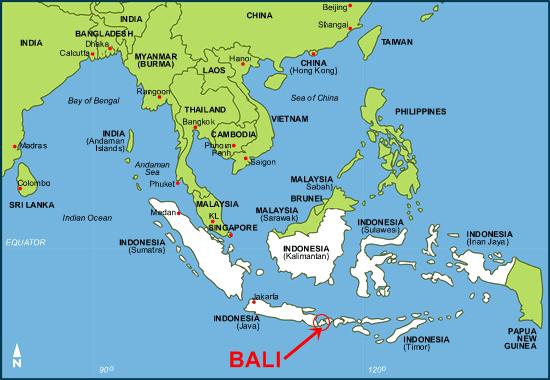 Bali Indonesia Map Bali Yoga Teacher Training Map Indonesia | Peak Beings Yoga