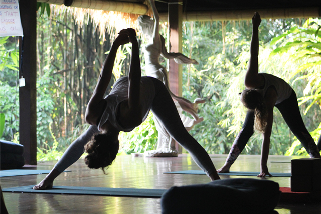 yoga training pose in bali